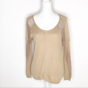 GUESS Laced Sleeves Beige Tan Top Size Small